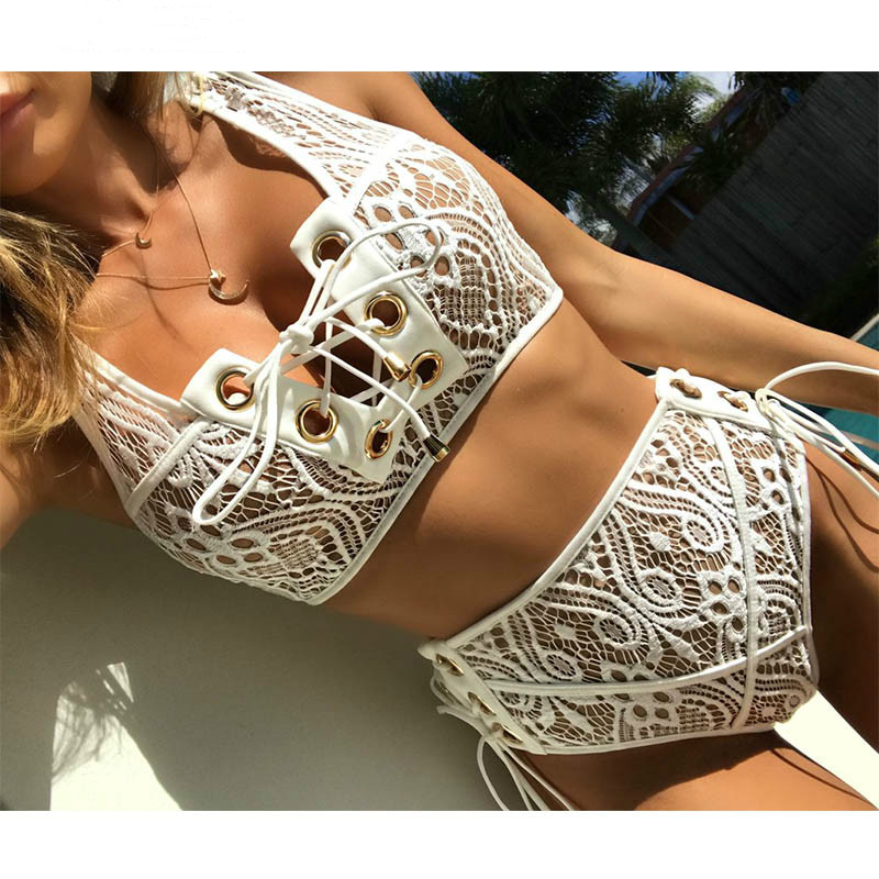 High Waist Swimsuit Lace Bikini Set 2018 Sexy Solid Bikinis Push Up Swimwear women Bathing Suit Swim Black White swimming suit lace up plain bikini set