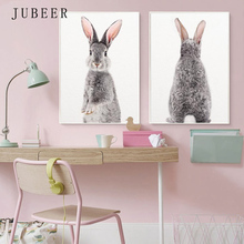 Nursery Wall Art Woodland Animals Rabbit Print Canvas Painting Decorative for  Kids Room Poster Art Home Decor Baby Decoration