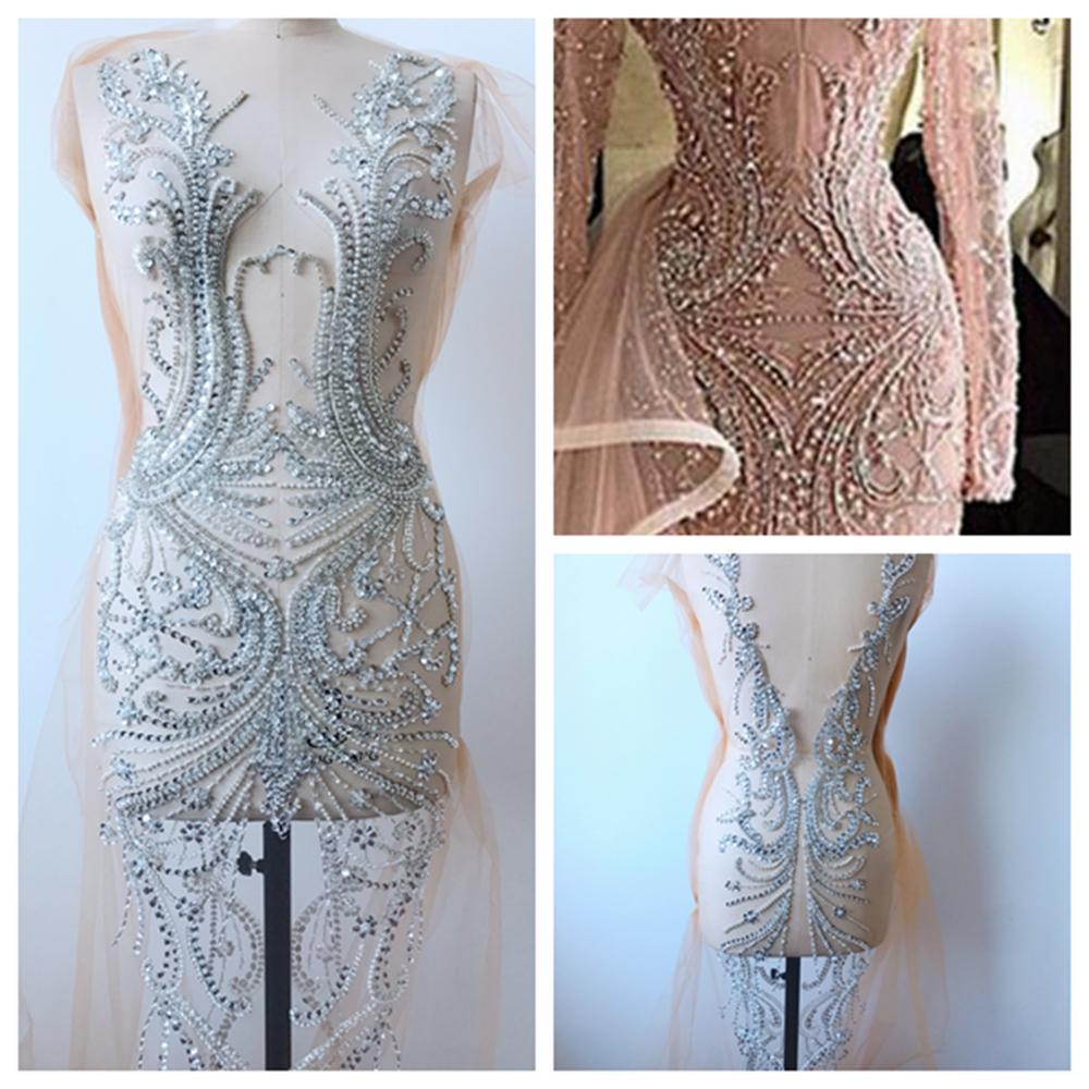 Pure handmade full body rhinestones patches sew on stones beads silver applique for wedding dress