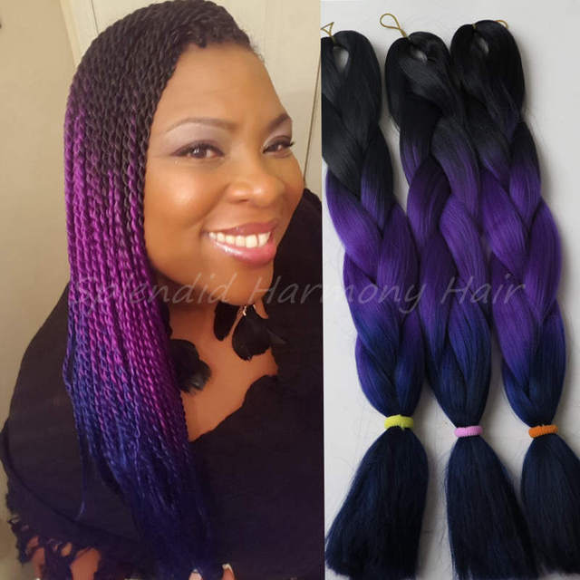 24 Inch Hair Bundles Weaving Hair Extension 100gpc Black Purple