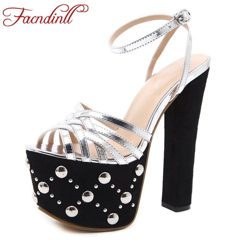 new brand design fashion rivets summer shoes women sandals ladies thick platform shoes sandal super high heels party dress shoes excellent design sandalias femininas tassels sandal summer shoes fashion design high heels gladiator womens sandals shoes