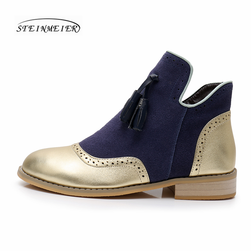 Botas de invierno de cuero genuino de vaca para mujer tobillo chelsea zapatos suaves de calidad cómodos diseñador de marca hecho a mano oro azul con piel-in Botas hasta el tobillo from zapatos    2