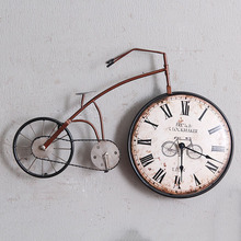 American Retro Bedroom Wall Clock Creative Personality Bicycle Decorative Clock Crafts Hanging Mural Decorations Ornaments