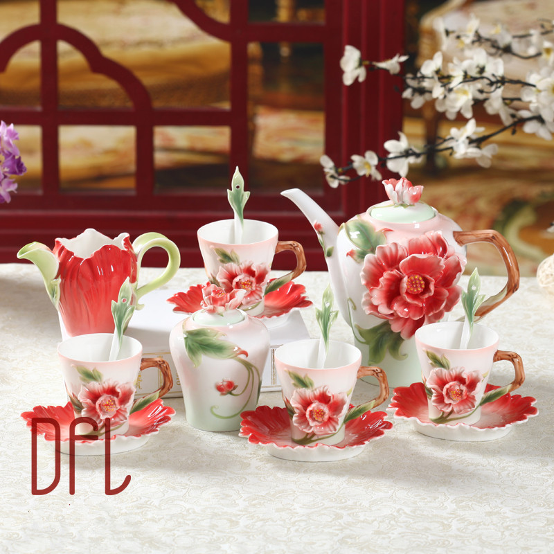 New 3D Penoy Coffee Pot Cup Set With Sugar Milk jug Enamel European High Grade Bone