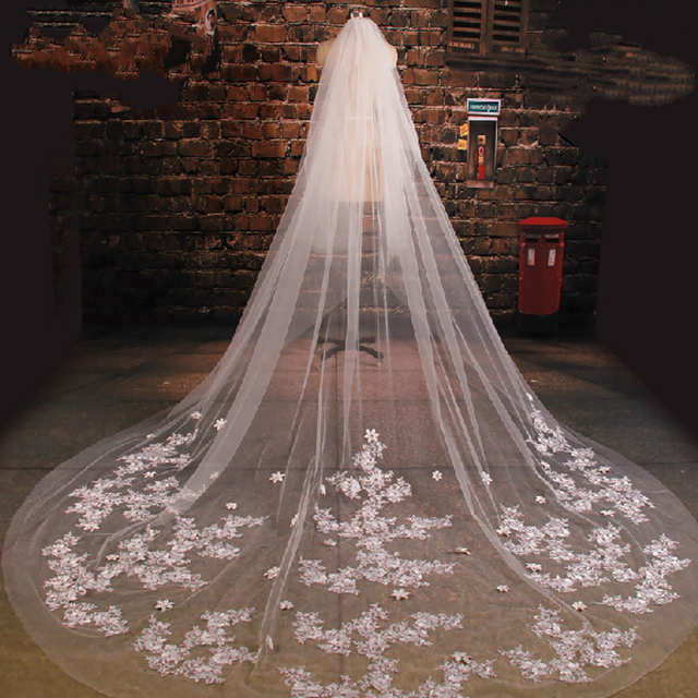 White Tulle Cathedral Train Wedding Veil 2016 Lace Applique Long Bridal Veils Wedding Accessories