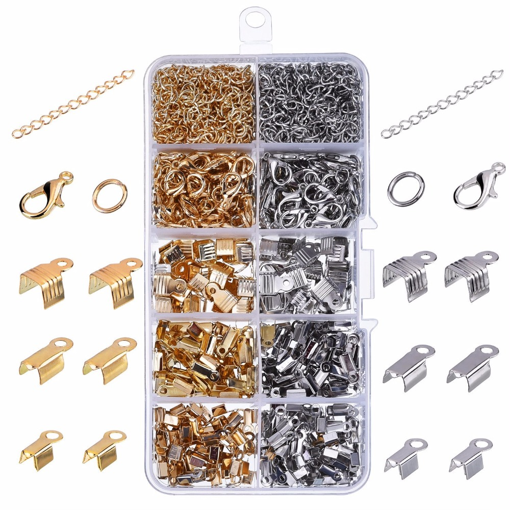 1000 Pieces/1 set DIY Jewelry Findings Kit Iron Fold Over Cord Ends Lobster Claw Clasps Jump Rings Extension Chains ...