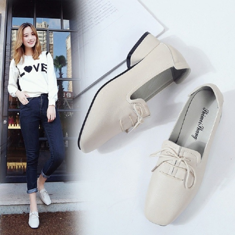 2018 spring new Korean fashion shallow square lace womens shoes with a wedge with the retro wild womens shoes tide bamboo womens driven 77 casual wedge