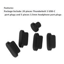 25 шт. черный прочный силиконовый Анти грязь пыль вилка портативная электроника Запчасти для Apple Macbook Pro USB и наушники