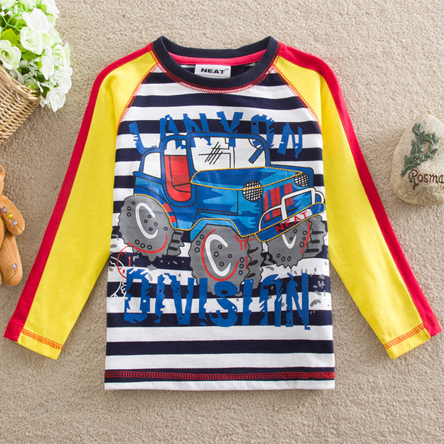 NEAT Wholesale 2016 baby boy clothes kids wear T-shirt boy printing letters auto stripe small children clothing cotton L880#