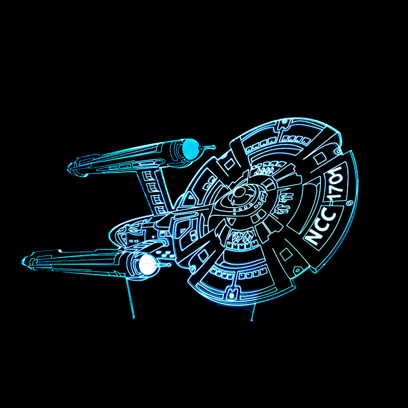 7 Color Change Star Trek Night Light 3D Battleship Lamp LED Visual Atmosphere Bedroom Bedside Decor Luminaria Gift Light Fixture
