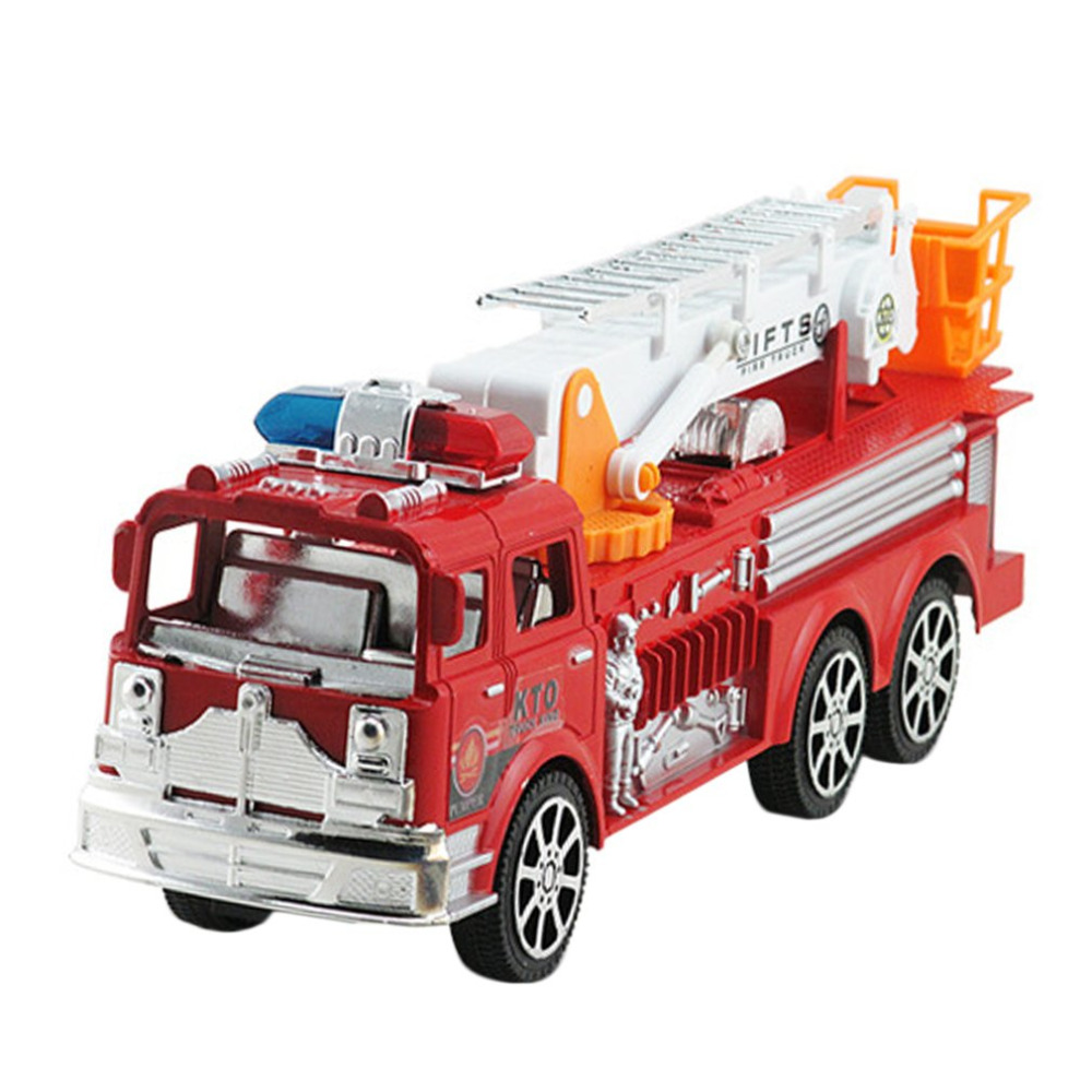 YKS Firetruck Artificial Model Cars Engineering Vehicle Simulation Truck with Folding Ladder Educational Toys For Children Gift ...