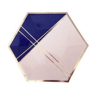 Image 2 - משלוח חינם 8 סטי חיל הים כחול שולחן חד פעמי רדיד זהב נייר צלחות כוסות מפיות עבור תינוק מקלחת יום הולדת ספקי צד