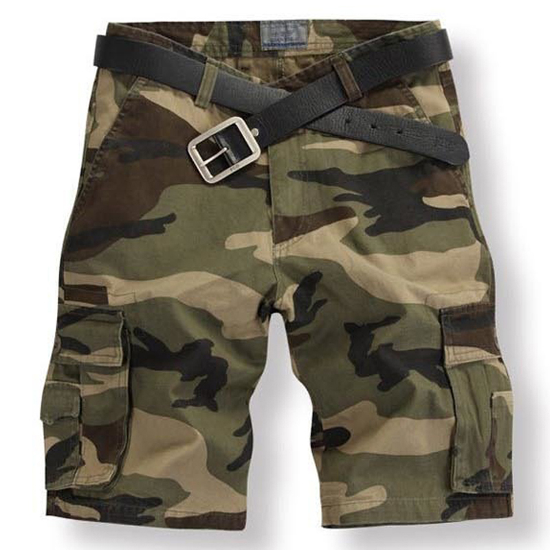 Men Cargo Shorts Casual Loose Pants Camouflage Military Camo Workout Trousers