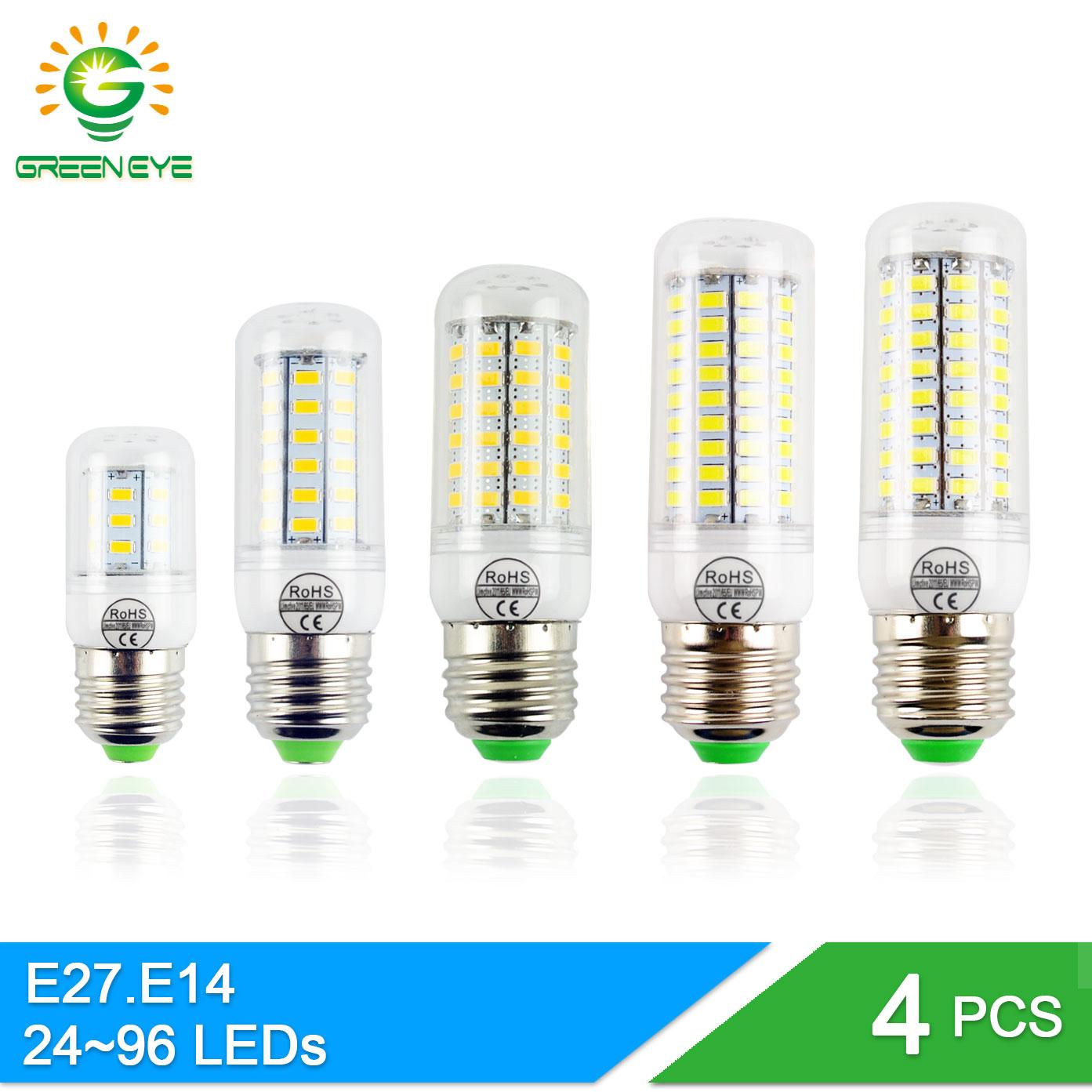 GreenEye 4pcs E14 E27 LED Corn Bulb 24~99leds Lampada LED Engergy Saving Lamp 220V 110V Bar Bulb Light Lampara Ampoule Bombilla