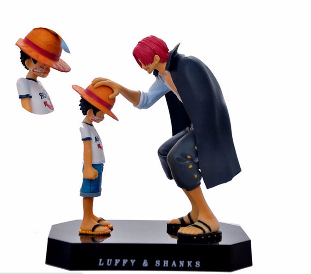 One Piece Straw Hat Luffy Shanks red hair PVC Action Figure Figurine Resin Collection Mo ...