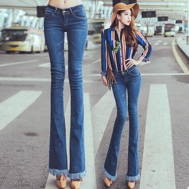 más cerca de disfruta el precio de liquidación venta outlet € 44.44 |Mujeres de la manera pantalones vaqueros de los altavoces de  algodón cozy Europea lavada pantalones delgado campana vaqueros inferiores  de ...