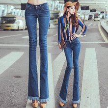 fashion women's speaker jeans cotton cozy European washed women's pants slim bell bottom jeans