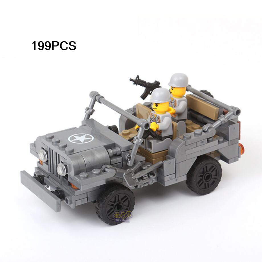 World War II Classic Military Vehicles Jeep Batisbricks Building Block Ww2 US Marine Corps Army Minifigs Assemable Bricks Toys