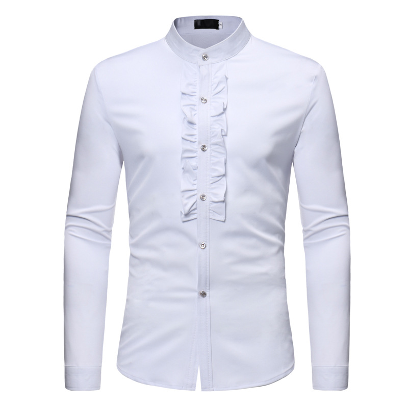 Autumn Men Ruffle Stand Collar Shirt Fit Slim Casual Business Solid Shirt Camisa Masculina 2019 Male Clothing Gentleman Shirts
