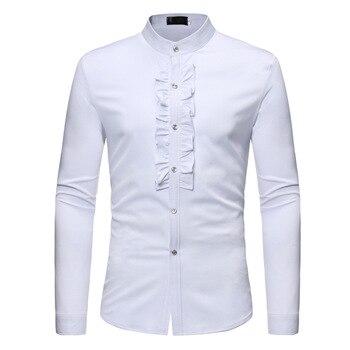 цена на Autumn Men Ruffle Stand Collar Shirt Fit Slim Casual Business Solid Shirt Camisa Masculina 2019 Male Clothing gentleman Shirts