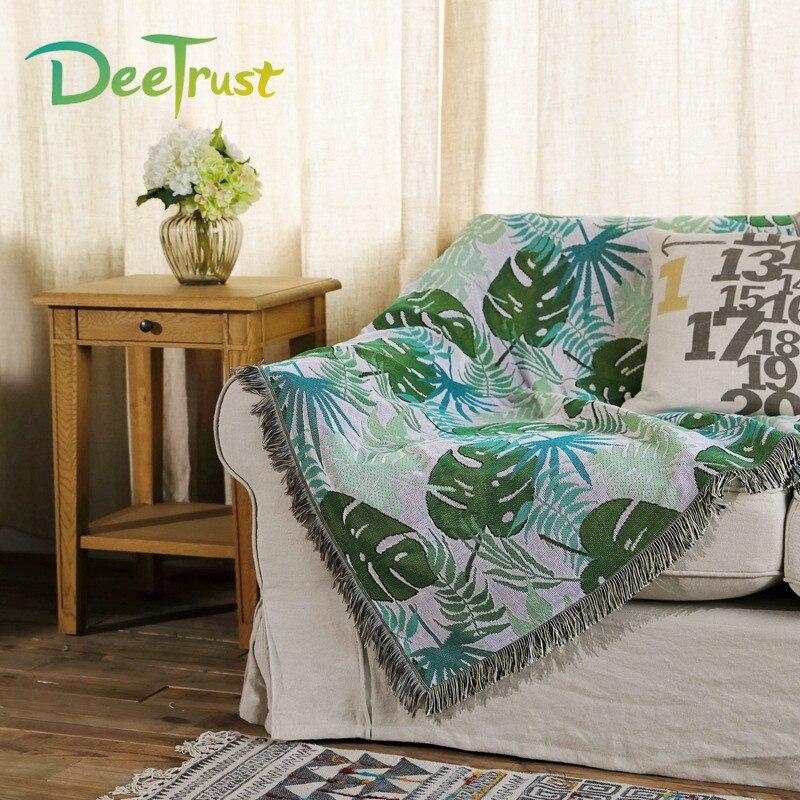Multifunctionele dubbelzijdig Bladeren Katoenen Deken Sofa Gooit Op Sofa/Bed/Vliegtuig Cover 130x155 cm cobertor Home Decoratieve-in Deken van Huis & Tuin op  Groep 1