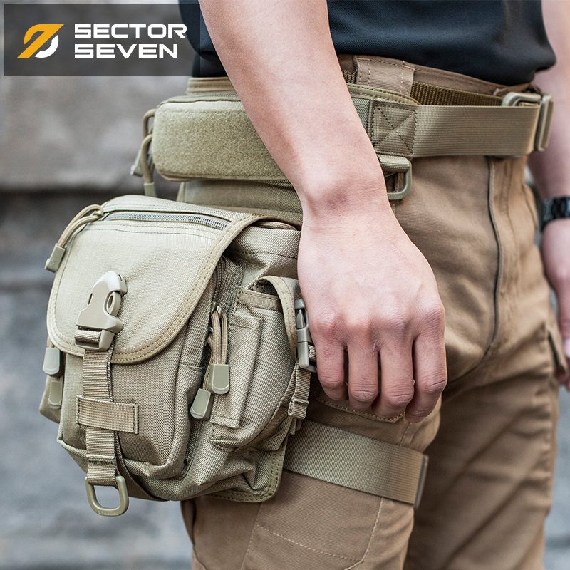 Sector Seven Men's Tactical Waist Pack Multi Function 1000D Nylon Thigh Bag AT24