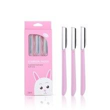 AMSIC розовый триммер для бровей 3 шт./компл. волос Бритва Красота уход за кожей лица, для бровей, Нержавеющая сталь лезвия инструменты для макияжа