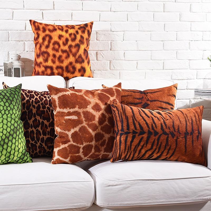 Leopard Snake Tiger Print Cushion Covers Animal Grain Soft