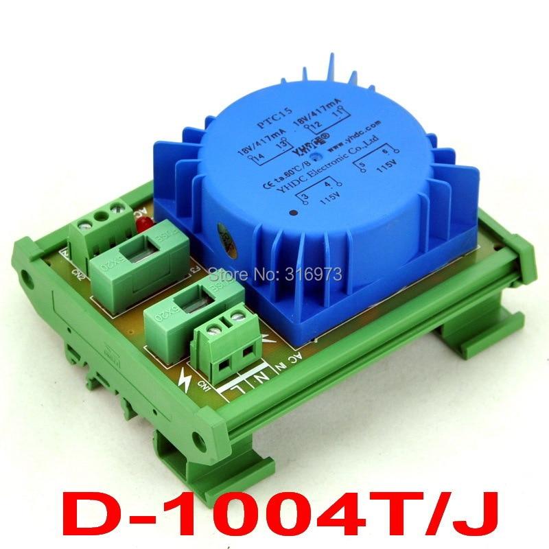 P 230VAC, S 36VAC, 15VA DIN Rail Mount Toroidal Power Transformer Module.