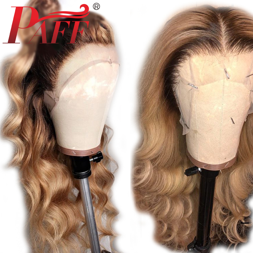 PAFF 4 27 Ombre Full Lace Human Hair Wigs With Baby Hair Body Wave Brazilian Remy