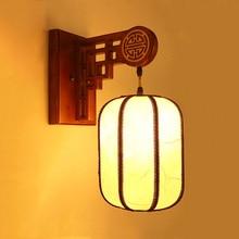 купить Solid wood lantern wall lamp stair hotel living room study lamp aisle store wall sconce bedroom bedside lights Chinese style bra дешево