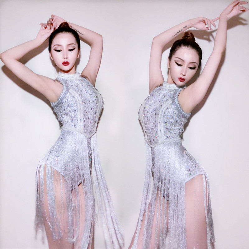 New Sequins DS Costumes Bar Singers Clubs Sexy DJ Dresses Jazz Stage Silver Tassels Bodysuit Dancers Outfits