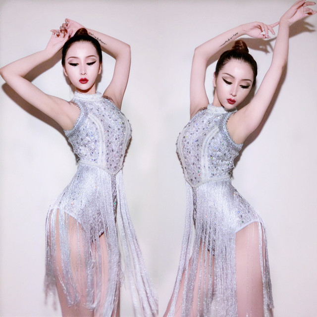 New Sequins DS Costumes Bar Singers Clubs Sexy DJ Dresses Jazz Stage Silver  Tassels Bodysuit Dancers Outfits e6a174c017bb