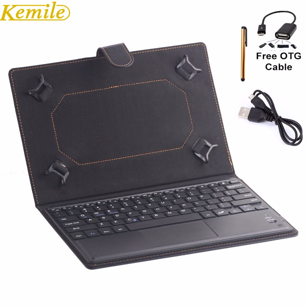 Kemile Universal 9-10.1 Tablet Magnetic Wireless Bluetooth 3.0 Keyboard with Touch Pad for Android Windows Tablet Leather Case ios windows android universal bluetooth keyboard abs leather case for 7 8 9 9 7 10 1 tablet pc case support russia keyboard
