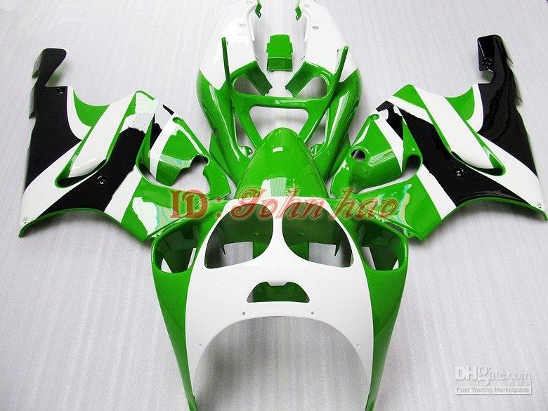 Green wt blk ABS Plastic Fairing kit for KAWASAKI Ninja ZX7R 1996 - 2003 ZX750 96 97 98 99 00