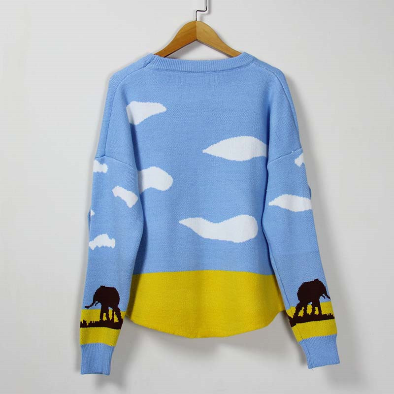 New Fashion 2019 Women Autumn Winter Embroidery Animal Cartoon Sweater Pullovers Casual Female Knitted Sweaters Pullover Lady in Pullovers from Women 39 s Clothing