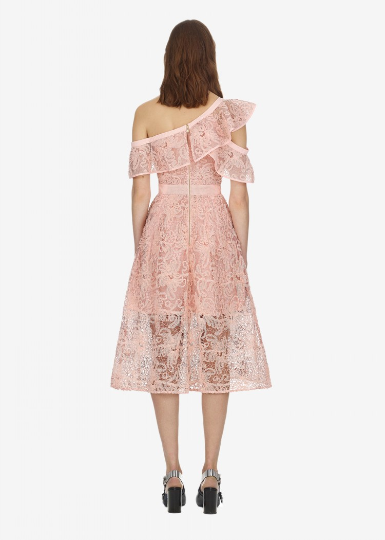 2018 Rose Haute Femmes Soirée De Robes Mignon Épaule Qualité Sexy Midi Dentelle Une Été Robe rUHrqpF
