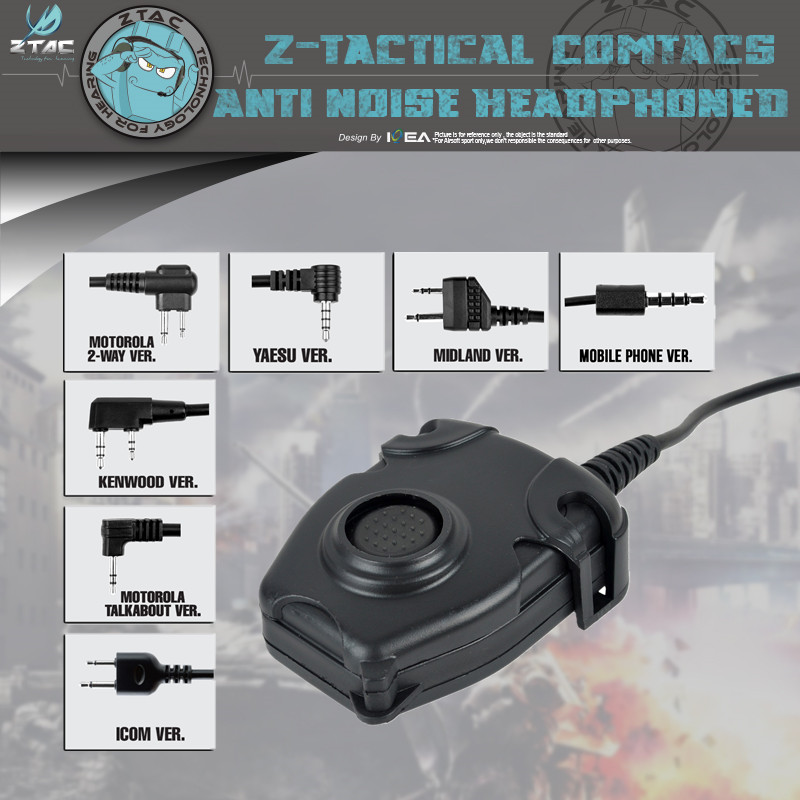 Z-tac Tactical Headphone Peltor Ptt Z112 Headset Adapter 1-2 Pin Airsoft Walkie Talkie Accessories