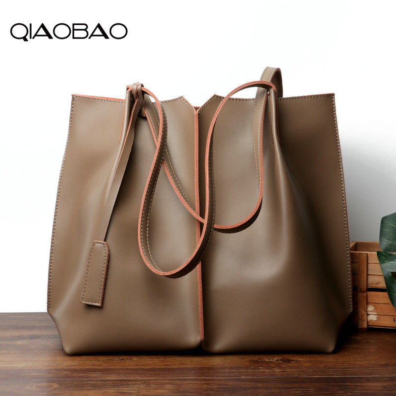 QIAOBAO Women Large Totes Real Leather Handbags Female Vintage Tote Bag Ladies Big Shopping Bags Ladies Hand Bags for Women 2018 bostanten new candy color ladies handbags designer large female shoulder bags summer leather bags for women tote hand bag blosas