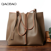 QIAOBAO Women Large Totes Real Leather Handbags Female Vintage Tote Bag Ladies Big Shopping Bags Ladies Hand Bags for Women 2018