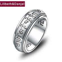 492fe54a4ba8 De moda étnica Buda 100% anillo de la joyería de la plata esterlina 925 de  las mujeres de los hombres giratoria corazón Sutra .
