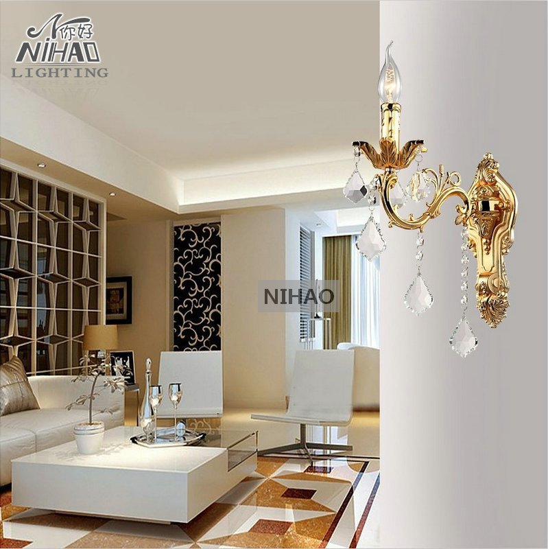 Zinc Alloy Silver Crystal Wall Light Pendants Sconces Lamp Golden Brackets MB8861