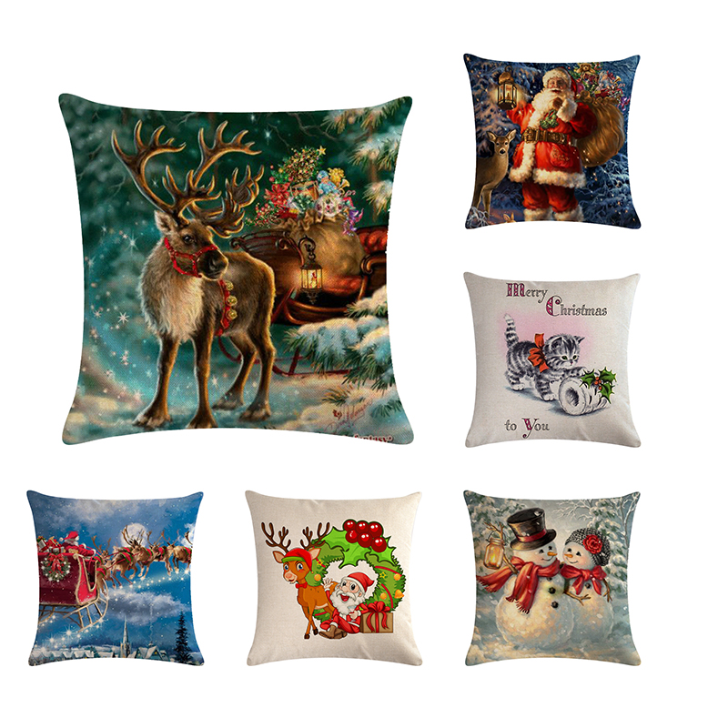 Reliable Cute Christmas Dog Cat Pattern Linen Cushion Cover Home Pillowcase Chair Pillowslip Decorative Supplies Housse Coussin 45*45cm Table & Sofa Linens Home Textile