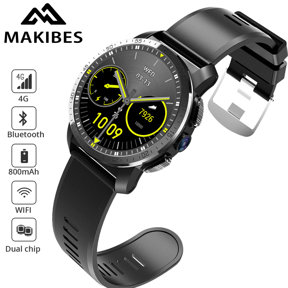 Makibes M3 4G impermeable reloj inteligente teléfono MT6739 + NRF52840 Dual chip Android 7,1 8MP Cámara GPS 800 mAh respuesta de llamada