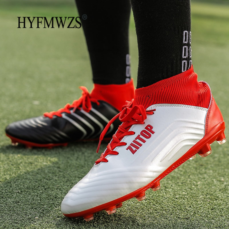 HYFMWZS 2019 High Ankle Sock Sneakers Men Soccer Shoes Superfly Original Boys Football Boots Long Spikes Football Boots Futbol(China)
