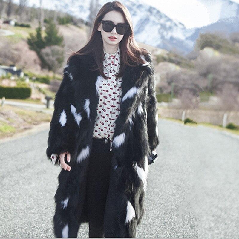 Fur Noir Longue Nouveau Chaud Style Pardessus Femmes Épais De Fourrure 6xl Manteaux Manteau Faux Nagodo Hiver Black Renard Peluche Étoiles En Coat Même 2019 BXawdW6nq