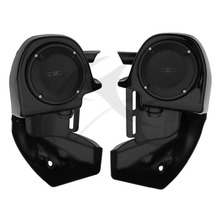 Black Lower Vented Leg Fairing 6.5 Speakers w/ Grills For Harley Touring 83-13