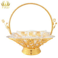 1Pcs Metal Flower Fruit Plates Serving Tray Candy Blows Golden Decorative For Wedding Party Supplies And