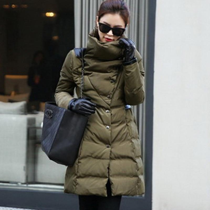 army Mode Femmes Veste Taille C552 Plus 2xl Solide Chaud Coutures D'hiver Pu Longue De Cuir Couleur La Green Black Rembourré Section Coton En Nouveau Manteau Épaisse qwAnzxS