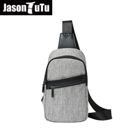 JASON TUTU Gray Shoulder bags Summer Casual Canvas Man Bag Chest bag men Cool Messenger Bag B298